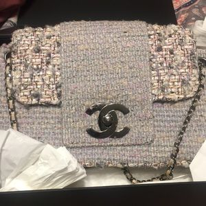 Used Authentic Chanel tweed bag .